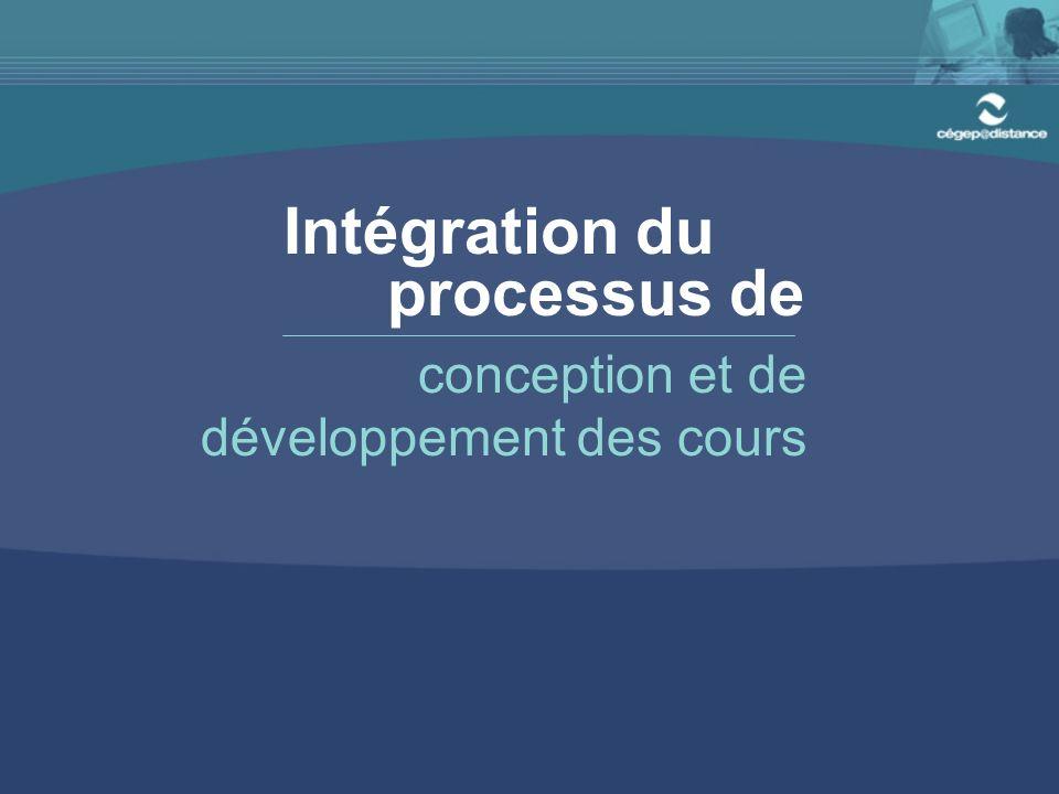 Intégration du processus de conception et de développement des cours