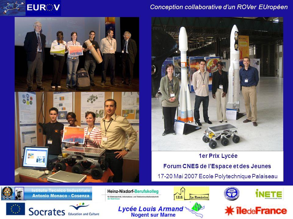 Lycée Louis Armand Nogent sur Marne Conception collaborative dun ROVer EUropéen 1er Prix Lycée Forum CNES de lEspace et des Jeunes 17-20 Mai 2007 Ecol