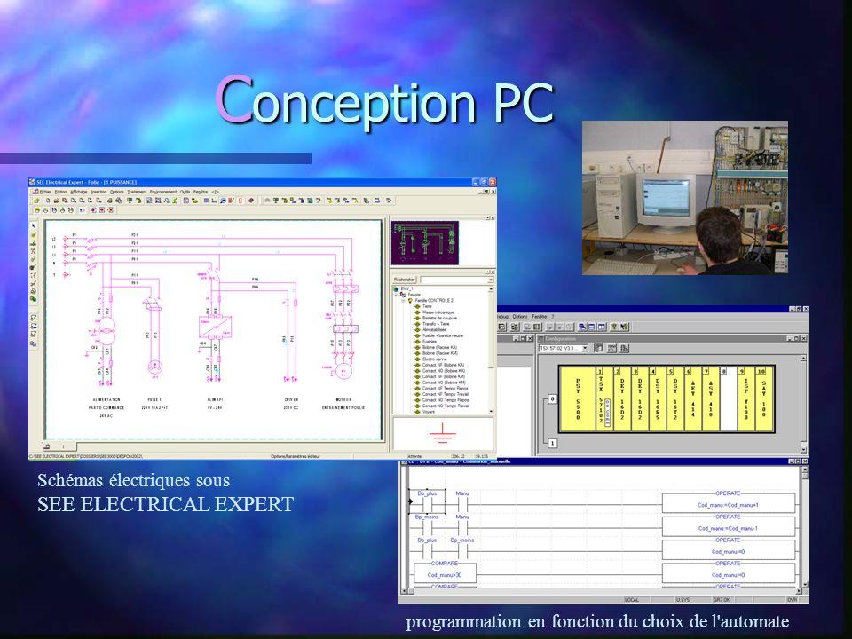 C onception PC Schémas électriques sous SEE ELECTRICAL EXPERT programmation en fonction du choix de l automate