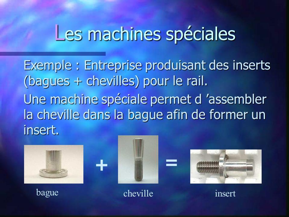 L es machines spéciales Exemple : Entreprise produisant des inserts (bagues + chevilles) pour le rail.