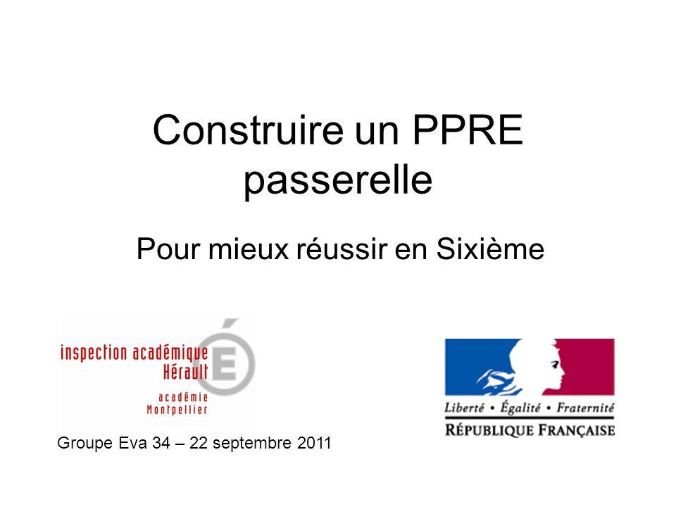 Construire un PPRE passerelle Pour mieux réussir en Sixième Groupe Eva 34 – 22 septembre 2011