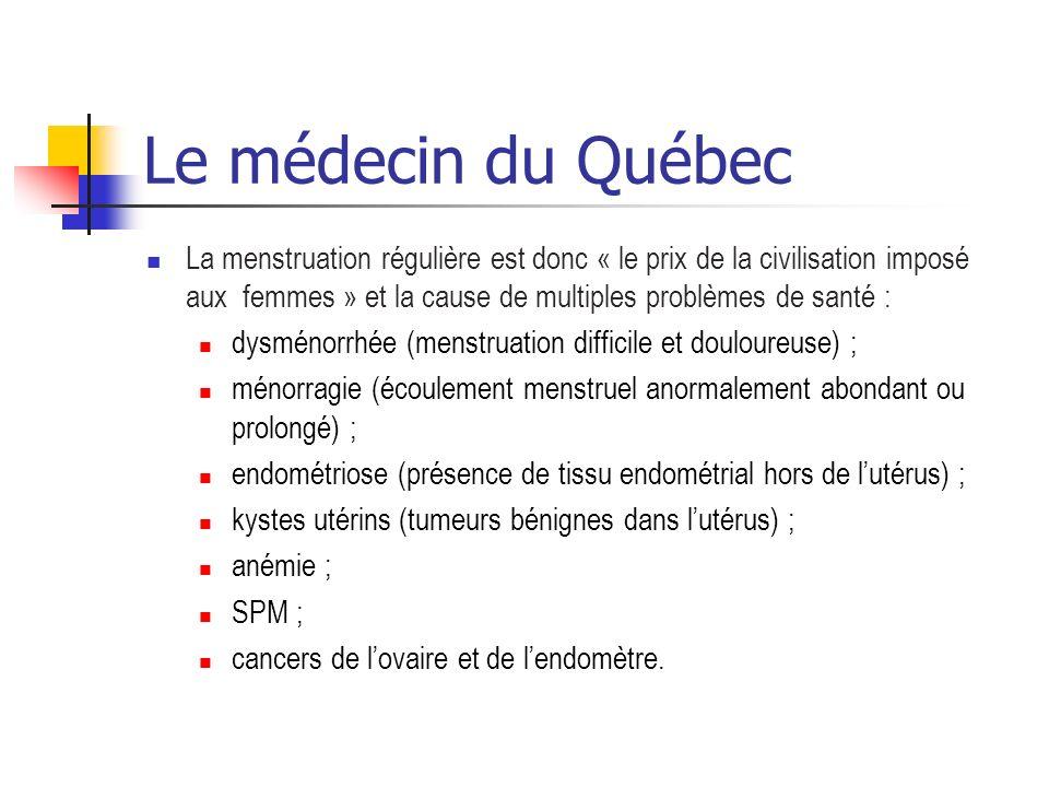 Le médecin du Québec La menstruation régulière est donc « le prix de la civilisation imposé aux femmes » et la cause de multiples problèmes de santé :