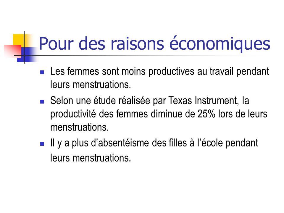 Pour des raisons économiques Les femmes sont moins productives au travail pendant leurs menstruations. Selon une étude réalisée par Texas Instrument,