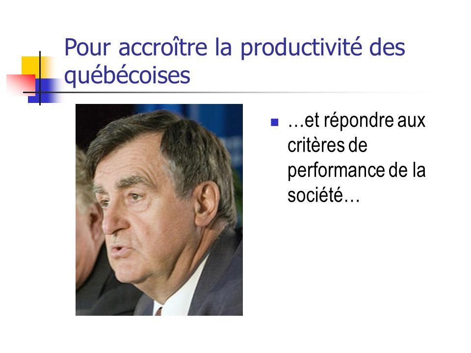 Pour accroître la productivité des québécoises …et répondre aux critères de performance de la société…
