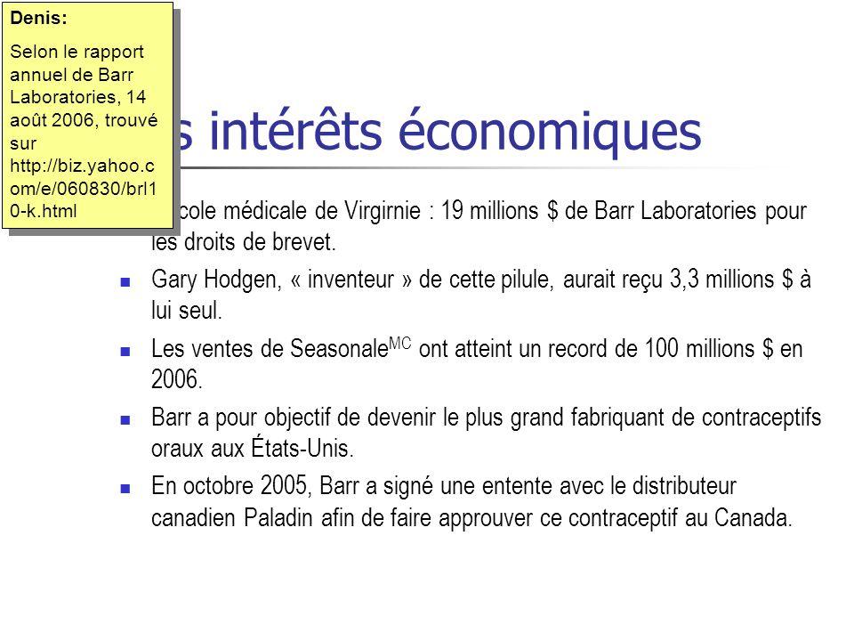 Les intérêts économiques Lécole médicale de Virgirnie : 19 millions $ de Barr Laboratories pour les droits de brevet. Gary Hodgen, « inventeur » de ce