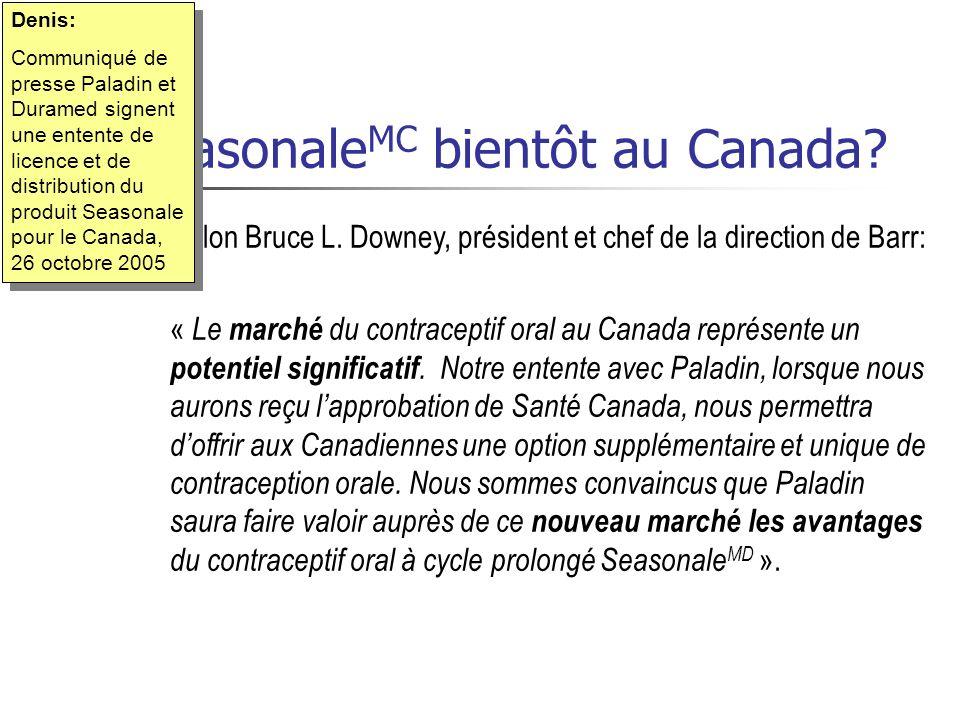 Seasonale MC bientôt au Canada? Selon Bruce L. Downey, président et chef de la direction de Barr: « Le marché du contraceptif oral au Canada représent
