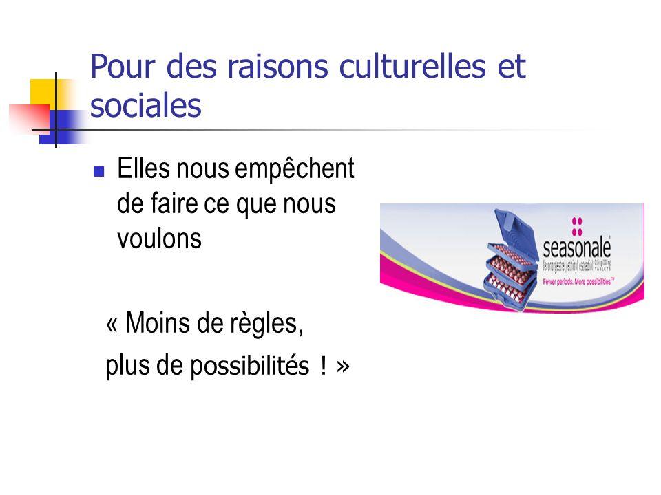 Pour des raisons culturelles et sociales Elles nous empêchent de faire ce que nous voulons « Moins de règles, plus de p ossibilités ! »