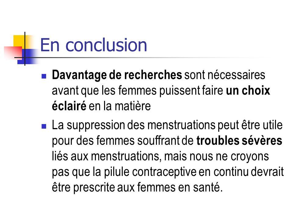 En conclusion Davantage de recherches sont nécessaires avant que les femmes puissent faire un choix éclairé en la matière La suppression des menstruat