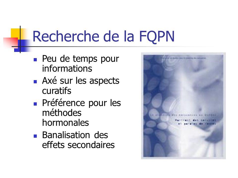 Recherche de la FQPN Peu de temps pour informations Axé sur les aspects curatifs Préférence pour les méthodes hormonales Banalisation des effets secon