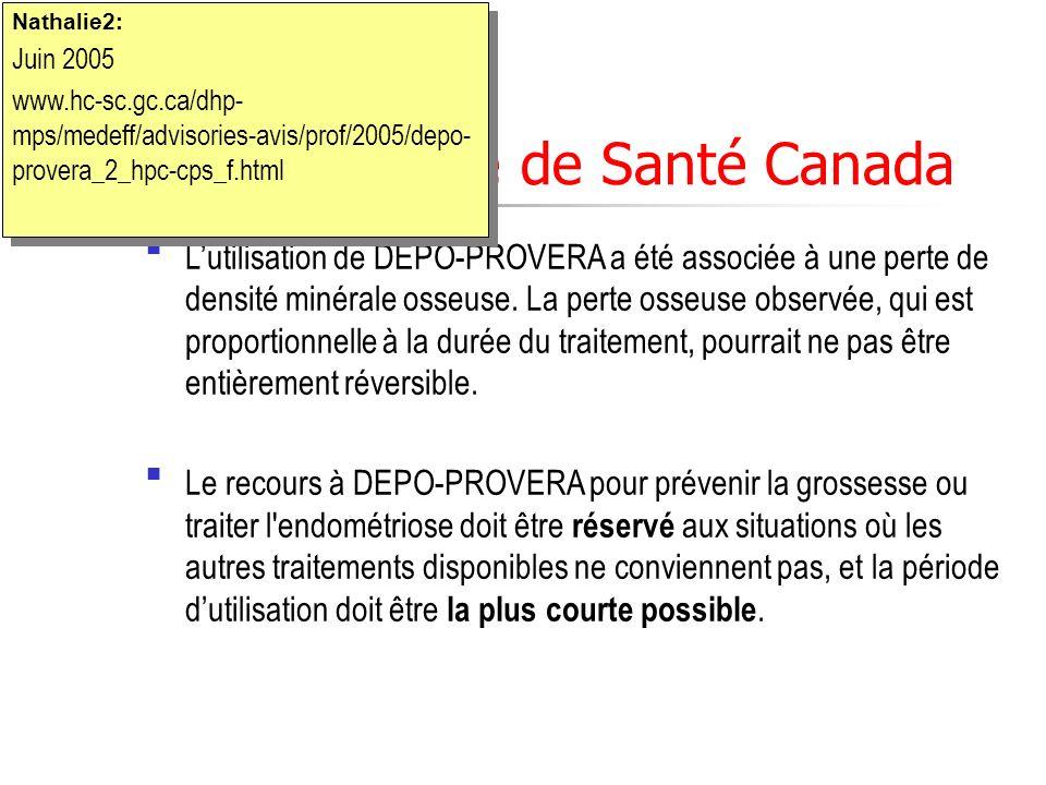 Mise en garde de Santé Canada Lutilisation de DEPO-PROVERA a été associée à une perte de densité minérale osseuse. La perte osseuse observée, qui est
