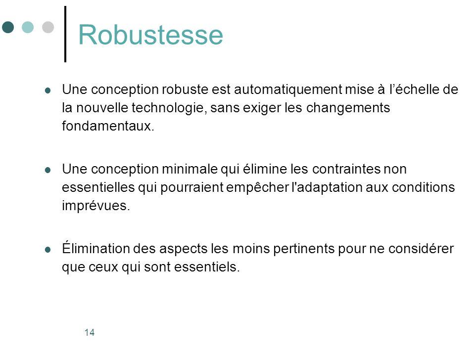 14 Robustesse Une conception robuste est automatiquement mise à léchelle de la nouvelle technologie, sans exiger les changements fondamentaux. Une con
