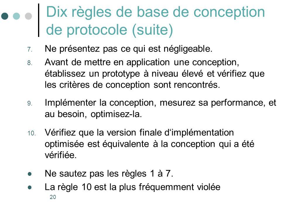 20 Dix règles de base de conception de protocole (suite) 7. Ne présentez pas ce qui est négligeable. 8. Avant de mettre en application une conception,
