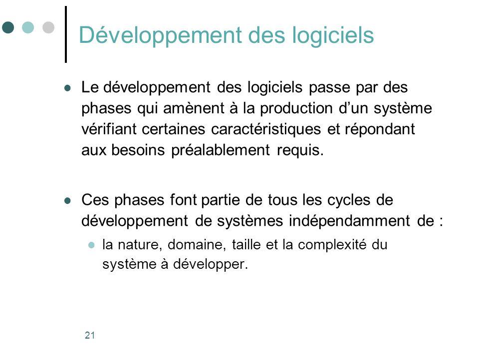 21 Développement des logiciels Le développement des logiciels passe par des phases qui amènent à la production dun système vérifiant certaines caractéristiques et répondant aux besoins préalablement requis.