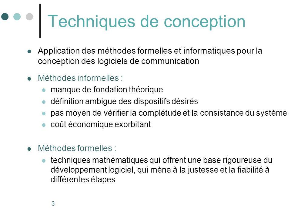 3 Techniques de conception Application des méthodes formelles et informatiques pour la conception des logiciels de communication Méthodes informelles
