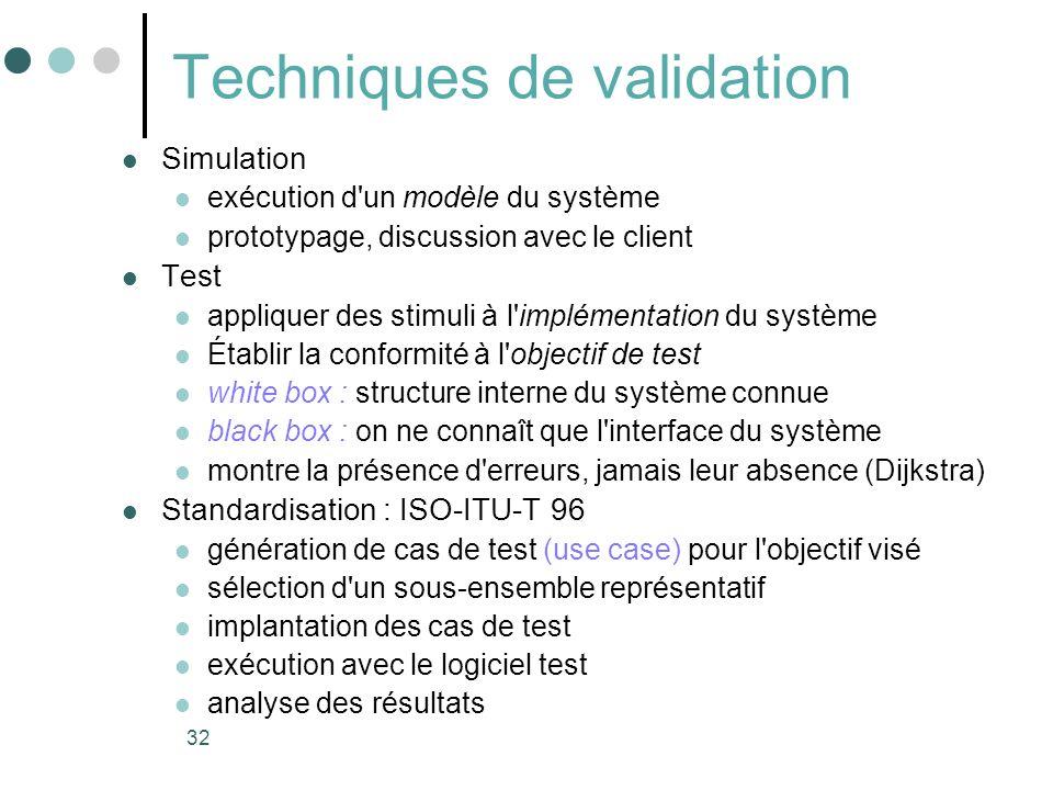 32 Techniques de validation Simulation exécution d un modèle du système prototypage, discussion avec le client Test appliquer des stimuli à l implémentation du système Établir la conformité à l objectif de test white box : structure interne du système connue black box : on ne connaît que l interface du système montre la présence d erreurs, jamais leur absence (Dijkstra) Standardisation : ISO-ITU-T 96 génération de cas de test (use case) pour l objectif visé sélection d un sous-ensemble représentatif implantation des cas de test exécution avec le logiciel test analyse des résultats