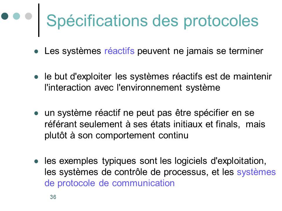 36 Spécifications des protocoles Les systèmes réactifs peuvent ne jamais se terminer le but d'exploiter les systèmes réactifs est de maintenir l'inter