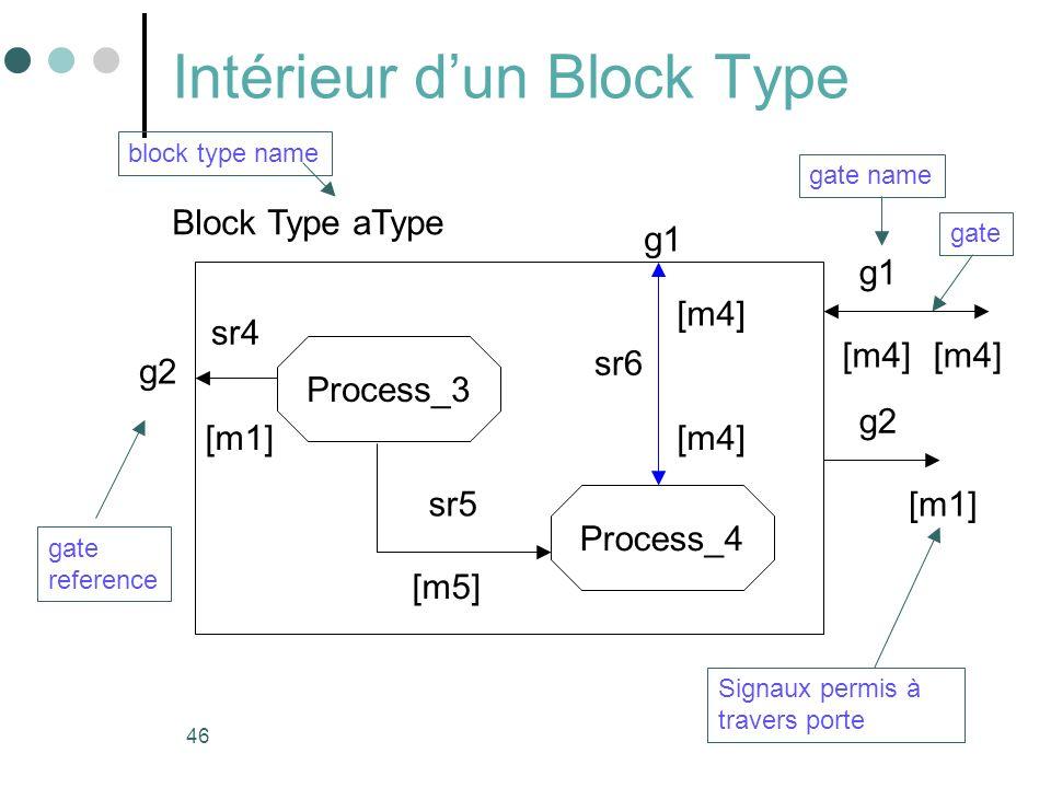 46 Intérieur dun Block Type Block Type aType block type name Process_3 Process_4 [m4] [m1] [m5] gate reference gate sr4 sr5 sr6 gate name g1 g2 [m4] [m1] [m4] Signaux permis à travers porte g2 [m4] g1