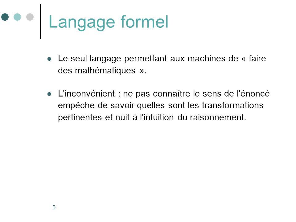 5 Langage formel Le seul langage permettant aux machines de « faire des mathématiques ». L'inconvénient : ne pas connaître le sens de l'énoncé empêche