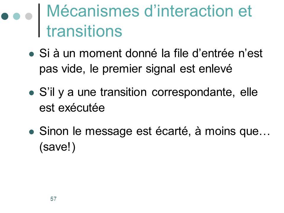 57 Mécanismes dinteraction et transitions Si à un moment donné la file dentrée nest pas vide, le premier signal est enlevé Sil y a une transition corr