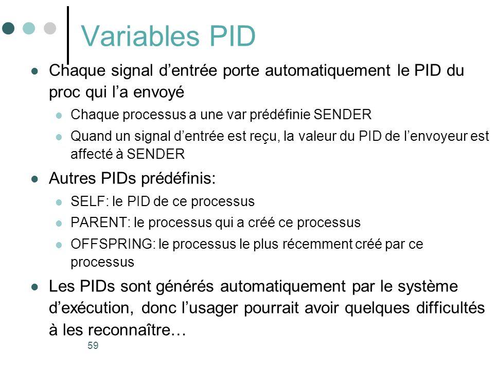 59 Variables PID Chaque signal dentrée porte automatiquement le PID du proc qui la envoyé Chaque processus a une var prédéfinie SENDER Quand un signal dentrée est reçu, la valeur du PID de lenvoyeur est affecté à SENDER Autres PIDs prédéfinis: SELF: le PID de ce processus PARENT: le processus qui a créé ce processus OFFSPRING: le processus le plus récemment créé par ce processus Les PIDs sont générés automatiquement par le système dexécution, donc lusager pourrait avoir quelques difficultés à les reconnaître…