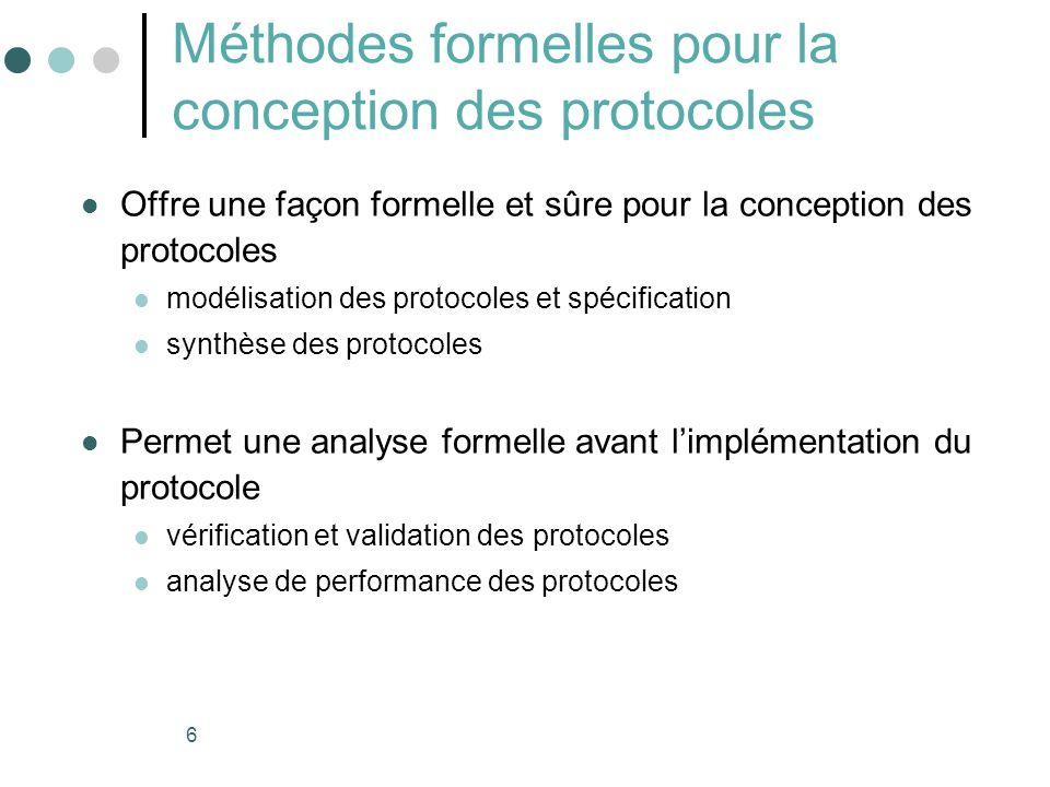 6 Méthodes formelles pour la conception des protocoles Offre une façon formelle et sûre pour la conception des protocoles modélisation des protocoles et spécification synthèse des protocoles Permet une analyse formelle avant limplémentation du protocole vérification et validation des protocoles analyse de performance des protocoles