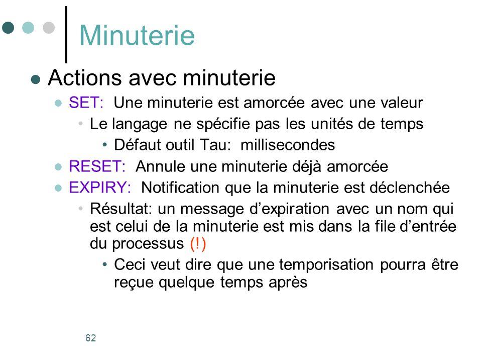 62 Minuterie Actions avec minuterie SET: Une minuterie est amorcée avec une valeur Le langage ne spécifie pas les unités de temps Défaut outil Tau: mi