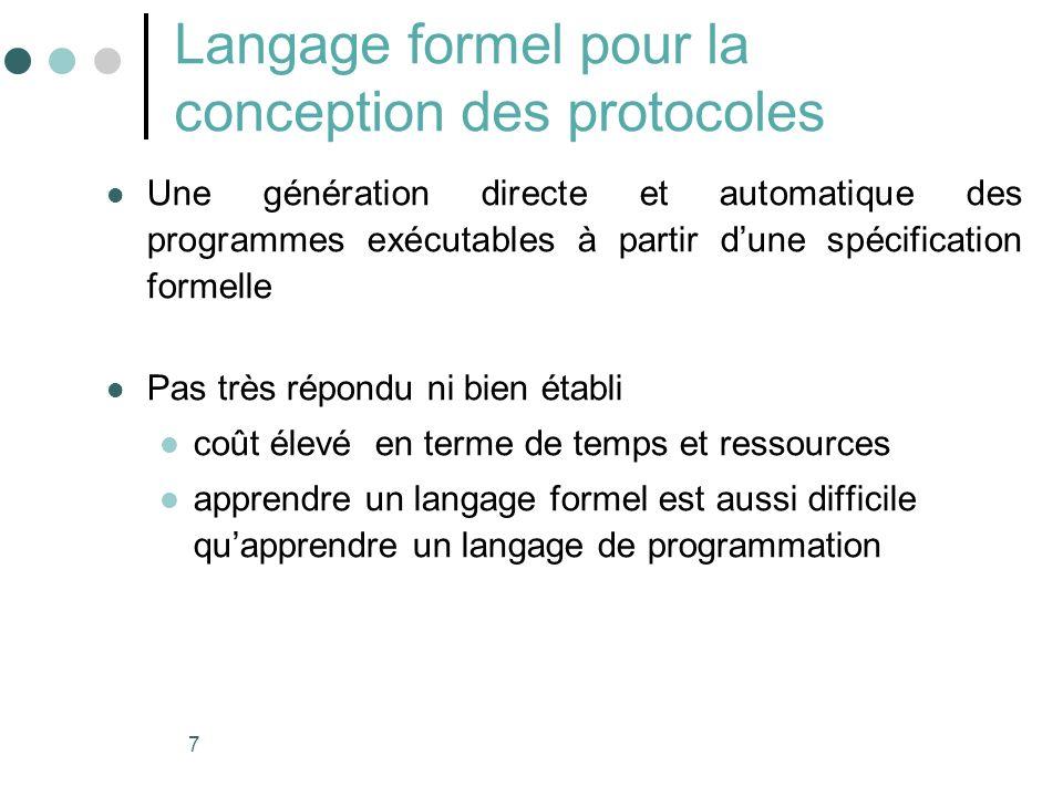7 Langage formel pour la conception des protocoles Une génération directe et automatique des programmes exécutables à partir dune spécification formel