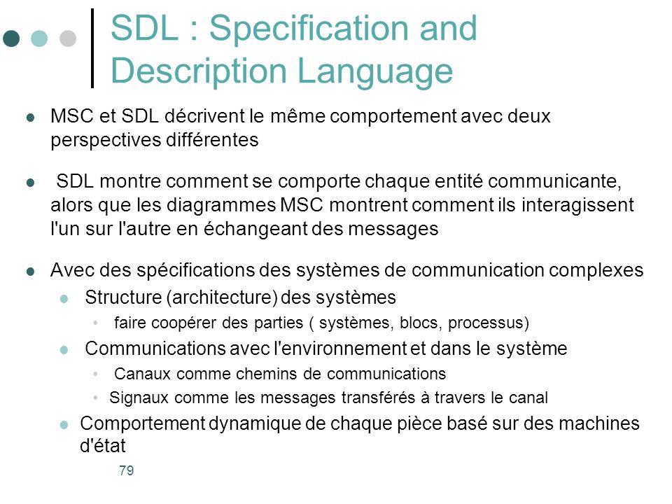 79 SDL : Specification and Description Language MSC et SDL décrivent le même comportement avec deux perspectives différentes SDL montre comment se comporte chaque entité communicante, alors que les diagrammes MSC montrent comment ils interagissent l un sur l autre en échangeant des messages Avec des spécifications des systèmes de communication complexes Structure (architecture) des systèmes faire coopérer des parties ( systèmes, blocs, processus) Communications avec l environnement et dans le système Canaux comme chemins de communications Signaux comme les messages transférés à travers le canal Comportement dynamique de chaque pièce basé sur des machines d état