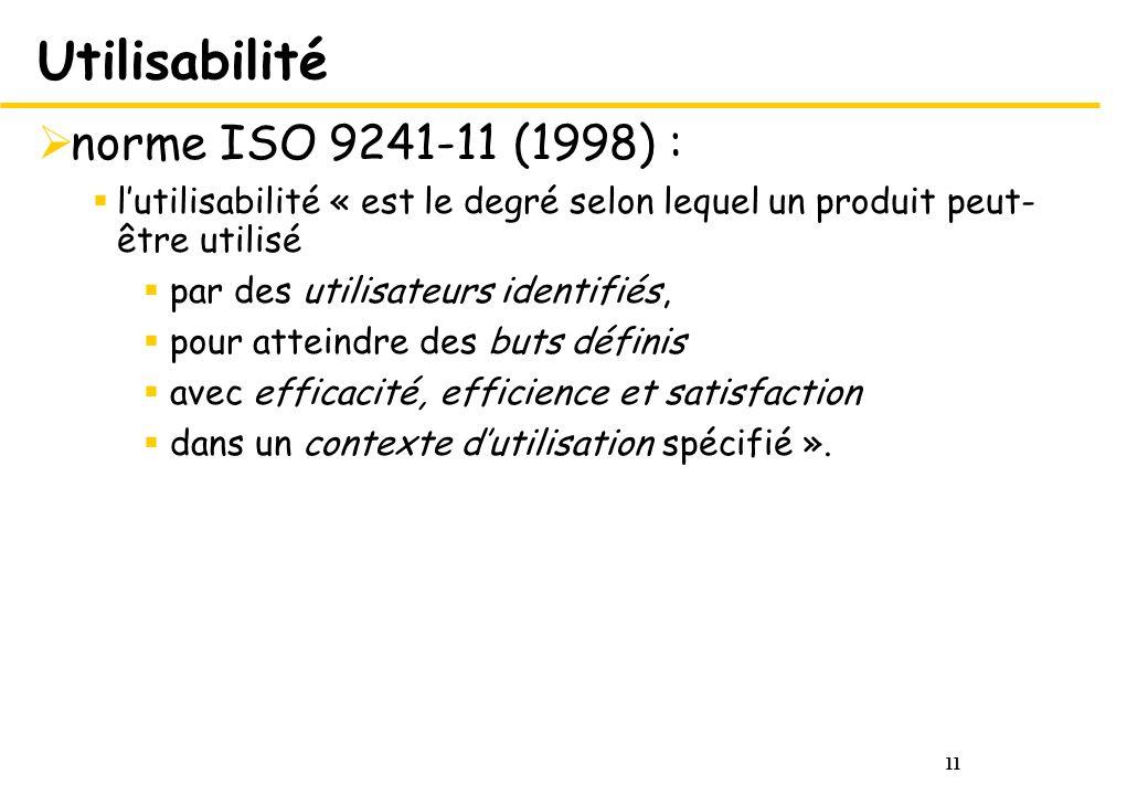 11 Utilisabilité norme ISO 9241-11 (1998) : lutilisabilité « est le degré selon lequel un produit peut- être utilisé par des utilisateurs identifiés, pour atteindre des buts définis avec efficacité, efficience et satisfaction dans un contexte dutilisation spécifié ».
