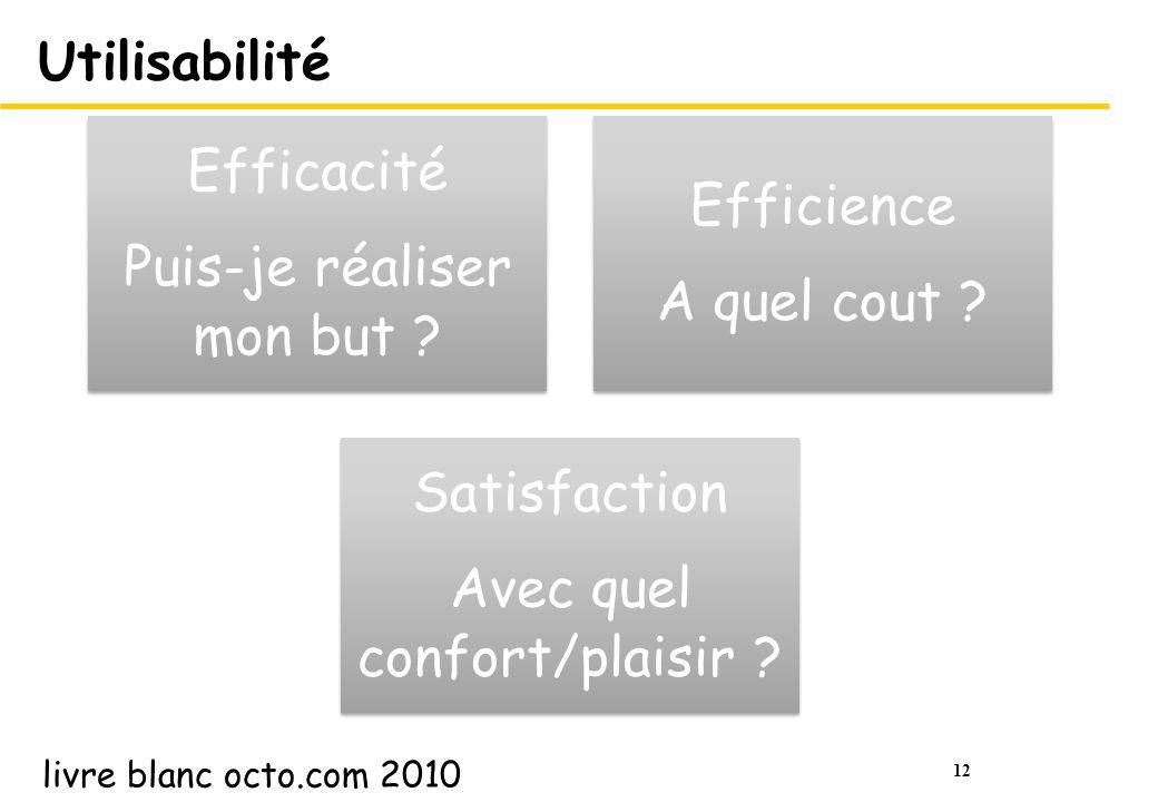 12 Utilisabilité Efficacité Puis-je réaliser mon but ? Efficience A quel cout ? Satisfaction Avec quel confort/plaisir ? livre blanc octo.com 2010