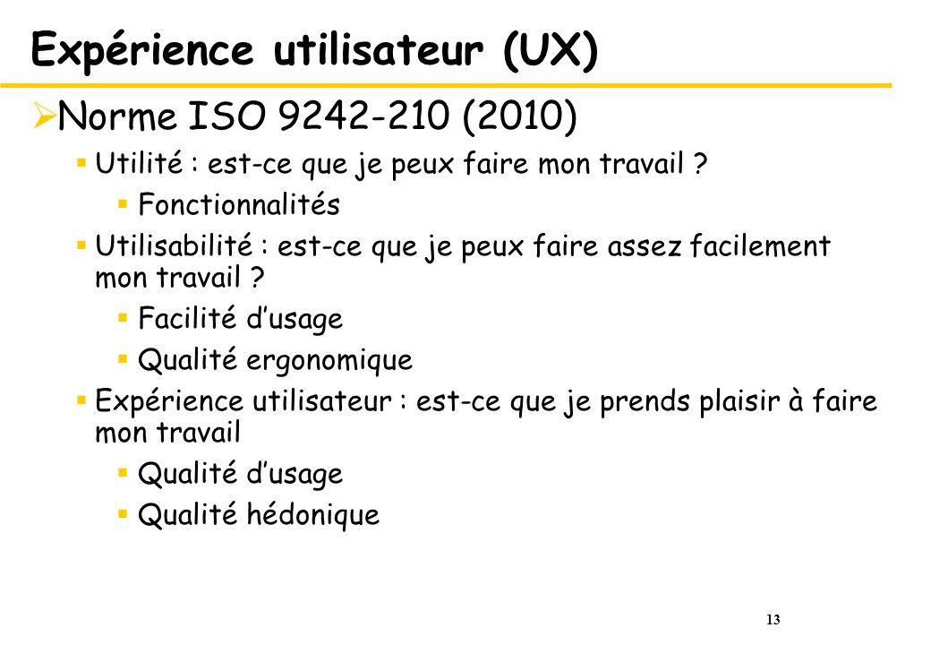 13 Expérience utilisateur (UX) Norme ISO 9242-210 (2010) Utilité : est-ce que je peux faire mon travail ? Fonctionnalités Utilisabilité : est-ce que j
