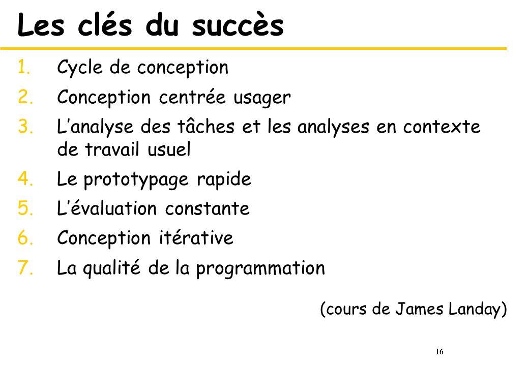 16 Les clés du succès 1.Cycle de conception 2.Conception centrée usager 3.Lanalyse des tâches et les analyses en contexte de travail usuel 4.Le protot