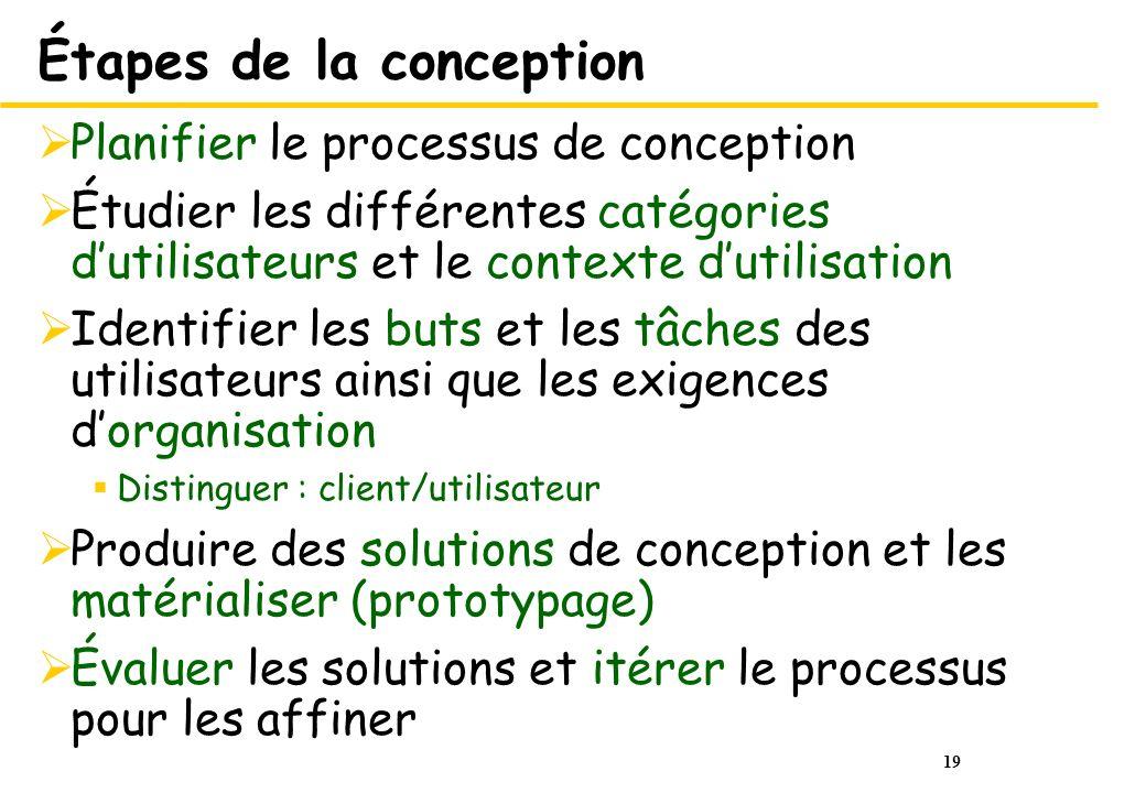 19 Étapes de la conception Planifier le processus de conception Étudier les différentes catégories dutilisateurs et le contexte dutilisation Identifie