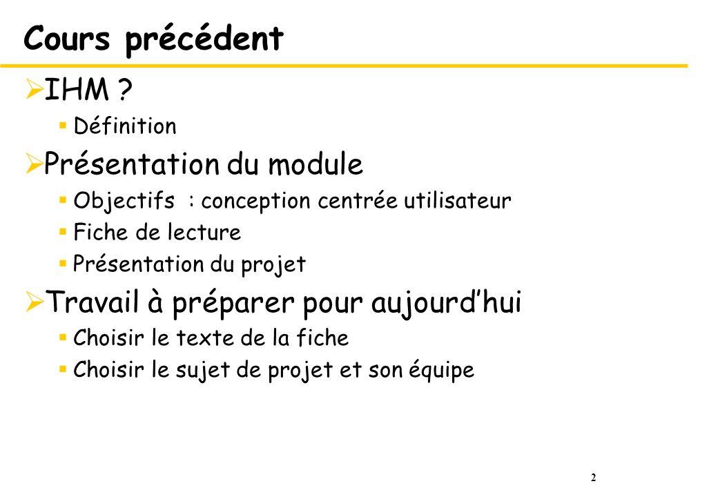 2 Cours précédent IHM ? Définition Présentation du module Objectifs : conception centrée utilisateur Fiche de lecture Présentation du projet Travail à