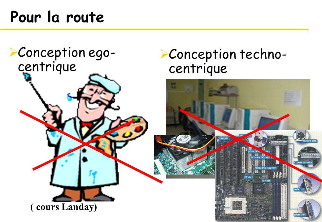 28 Conception techno- centrique 28 Pour la route Conception ego- centrique ( cours Landay)