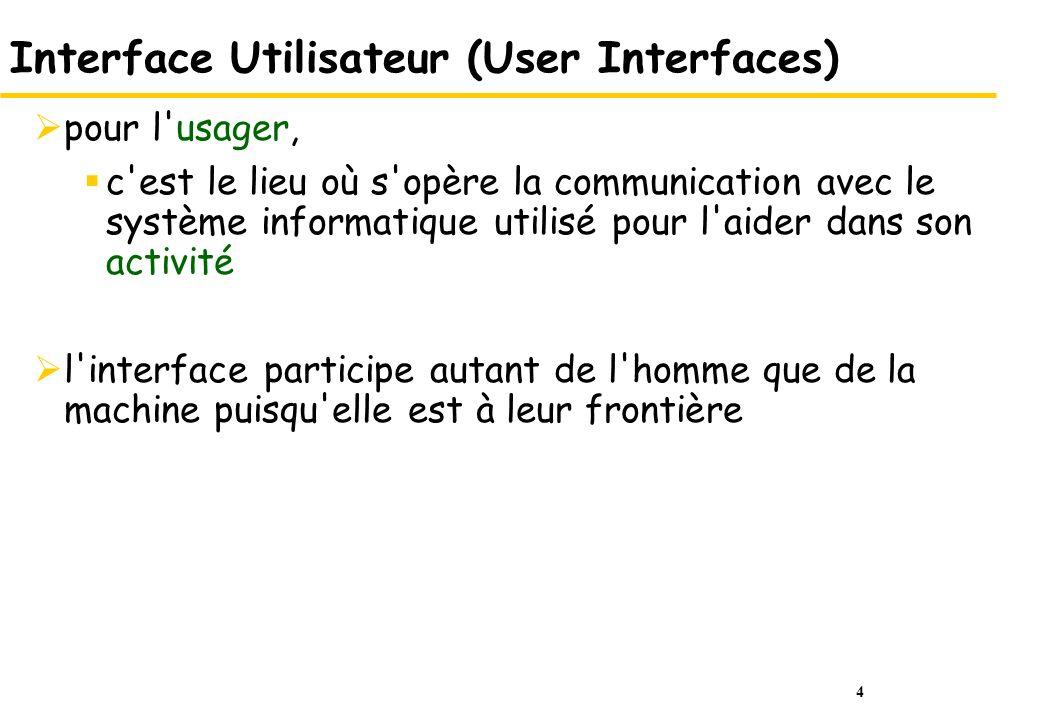 4 Interface Utilisateur (User Interfaces) pour l'usager, c'est le lieu où s'opère la communication avec le système informatique utilisé pour l'aider d