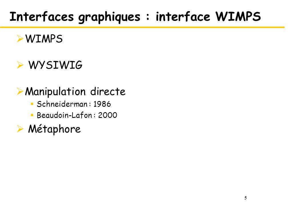 5 Interfaces graphiques : interface WIMPS WIMPS WYSIWIG Manipulation directe Schneiderman : 1986 Beaudoin-Lafon : 2000 Métaphore