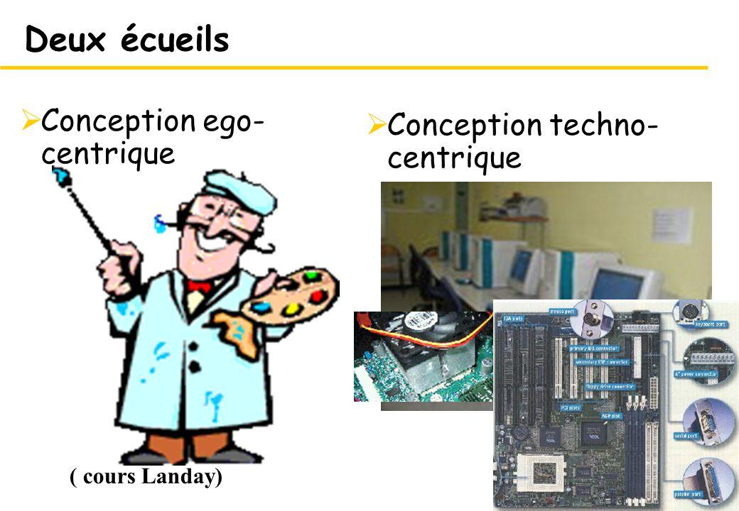 8 Conception techno- centrique 8 Deux écueils Conception ego- centrique ( cours Landay)