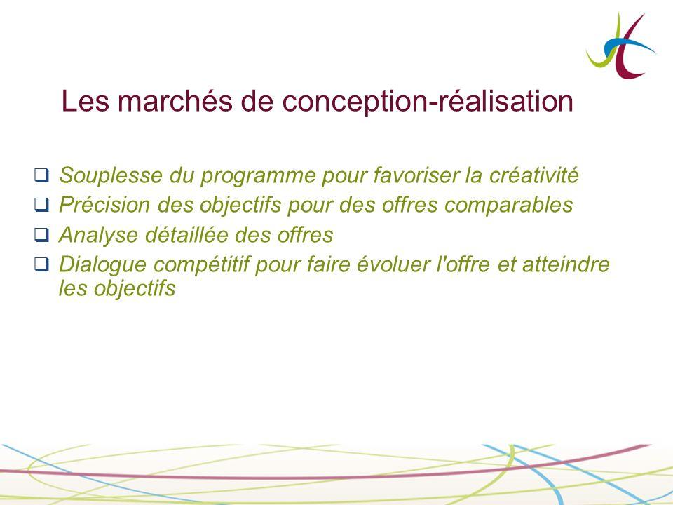 Les marchés de conception-réalisation Souplesse du programme pour favoriser la créativité Précision des objectifs pour des offres comparables Analyse détaillée des offres Dialogue compétitif pour faire évoluer l offre et atteindre les objectifs