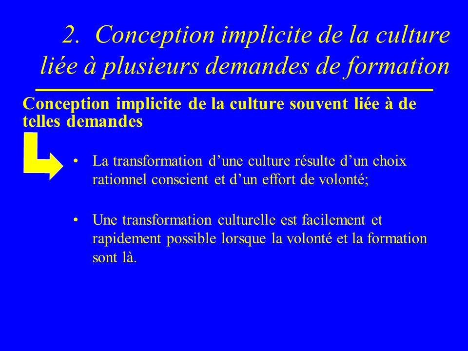 2. Conception implicite de la culture liée à plusieurs demandes de formation Conception implicite de la culture souvent liée à de telles demandes La t