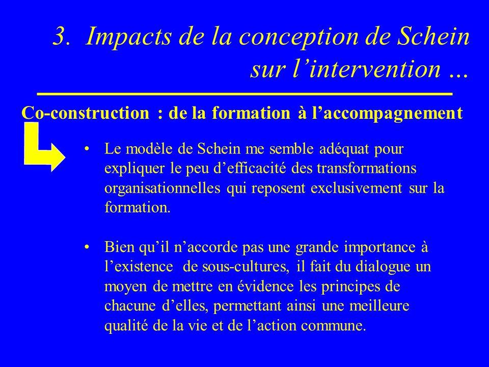 3. Impacts de la conception de Schein sur lintervention … Bien quil naccorde pas une grande importance à lexistence de sous-cultures, il fait du dialo