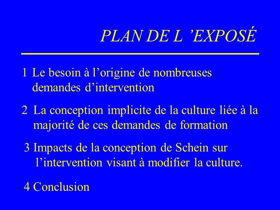 PLAN DE L EXPOSÉ 1Le besoin à lorigine de nombreuses demandes dintervention 2La conception implicite de la culture liée à la majorité de ces demandes