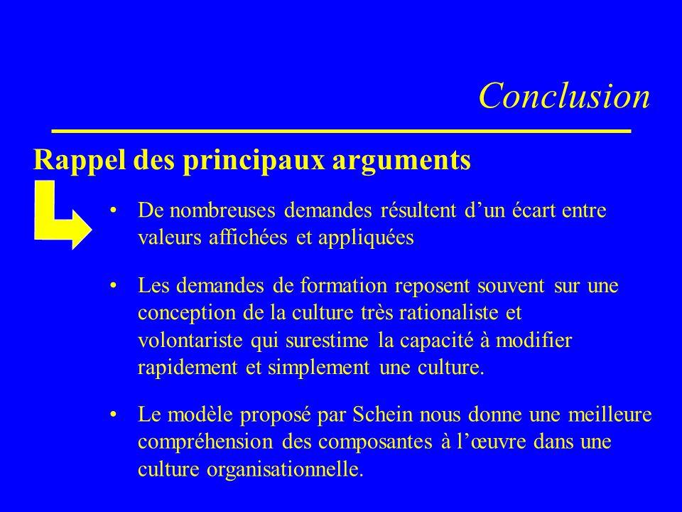 Conclusion Rappel des principaux arguments Les demandes de formation reposent souvent sur une conception de la culture très rationaliste et volontaris