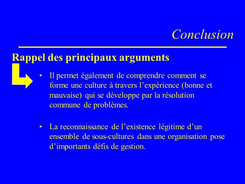 Conclusion Rappel des principaux arguments La reconnaissance de lexistence légitime dun ensemble de sous-cultures dans une organisation pose dimportan