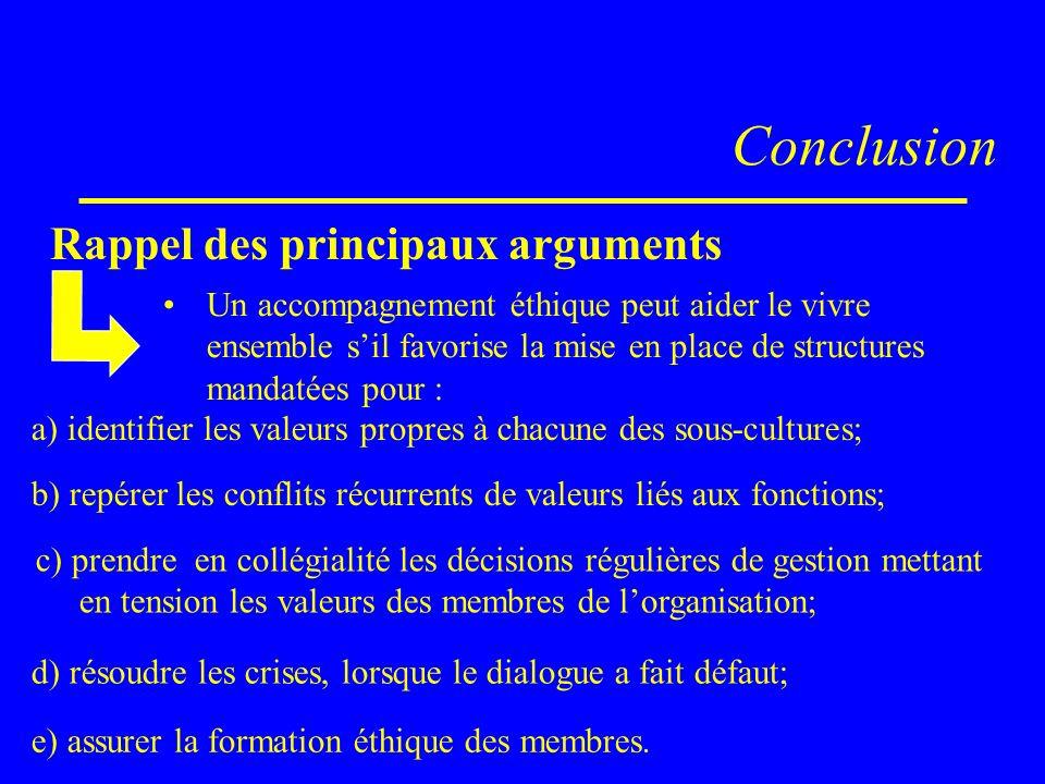 Conclusion Rappel des principaux arguments Un accompagnement éthique peut aider le vivre ensemble sil favorise la mise en place de structures mandatée
