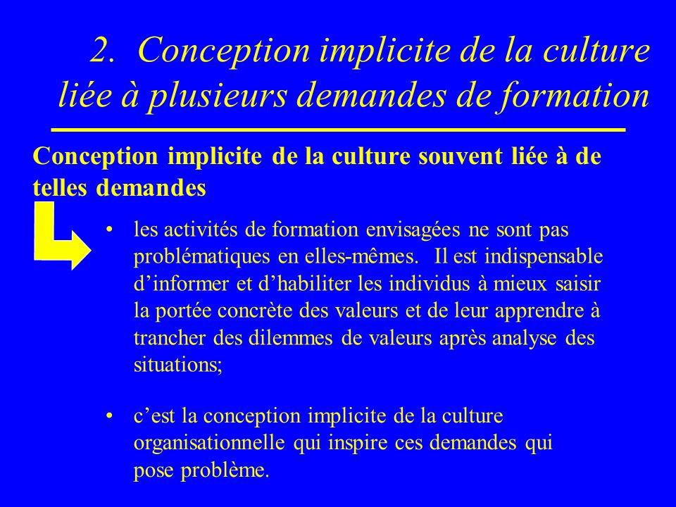 2. Conception implicite de la culture liée à plusieurs demandes de formation Conception implicite de la culture souvent liée à de telles demandes les