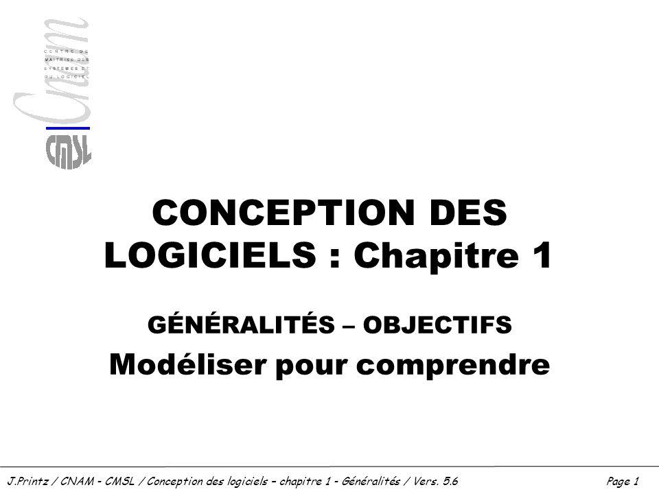 J.Printz / CNAM - CMSL / Conception des logiciels – chapitre 1 - Généralités / Vers. 5.6Page 1 CONCEPTION DES LOGICIELS : Chapitre 1 GÉNÉRALITÉS – OBJ