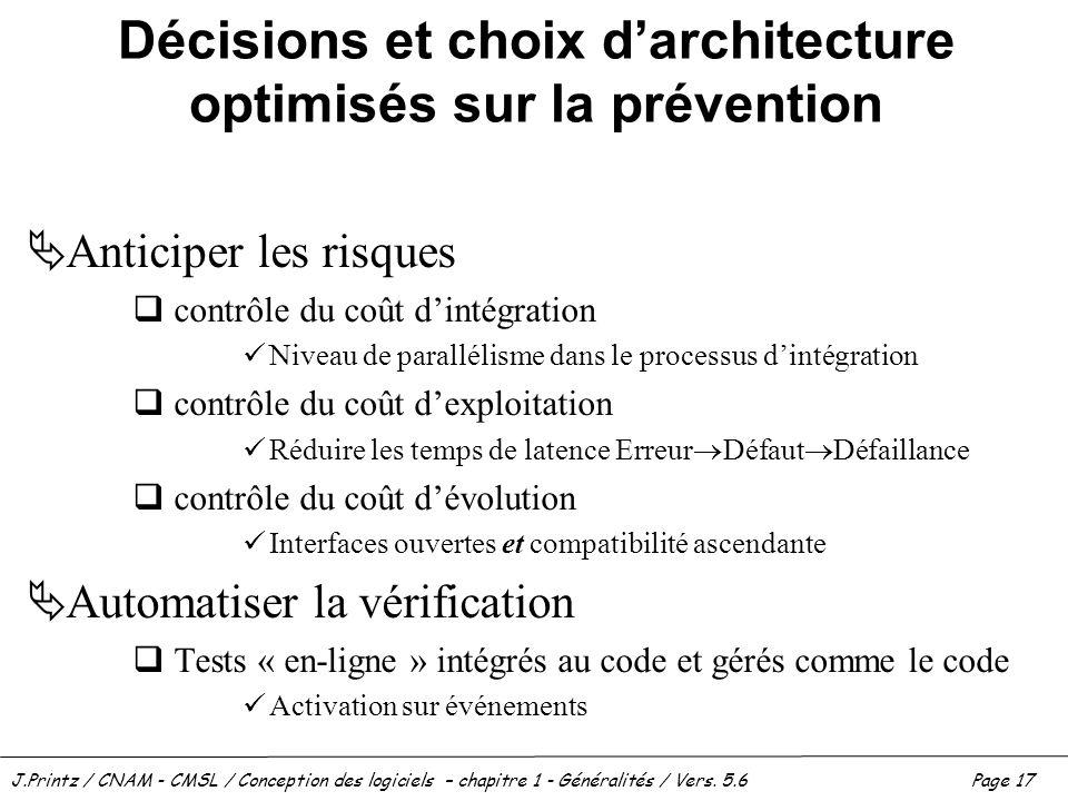 J.Printz / CNAM - CMSL / Conception des logiciels – chapitre 1 - Généralités / Vers. 5.6Page 17 Décisions et choix darchitecture optimisés sur la prév