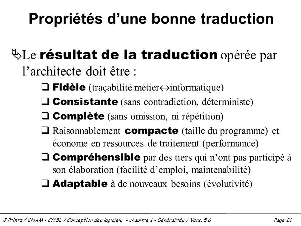 J.Printz / CNAM - CMSL / Conception des logiciels – chapitre 1 - Généralités / Vers. 5.6Page 21 Propriétés dune bonne traduction Le résultat de la tra