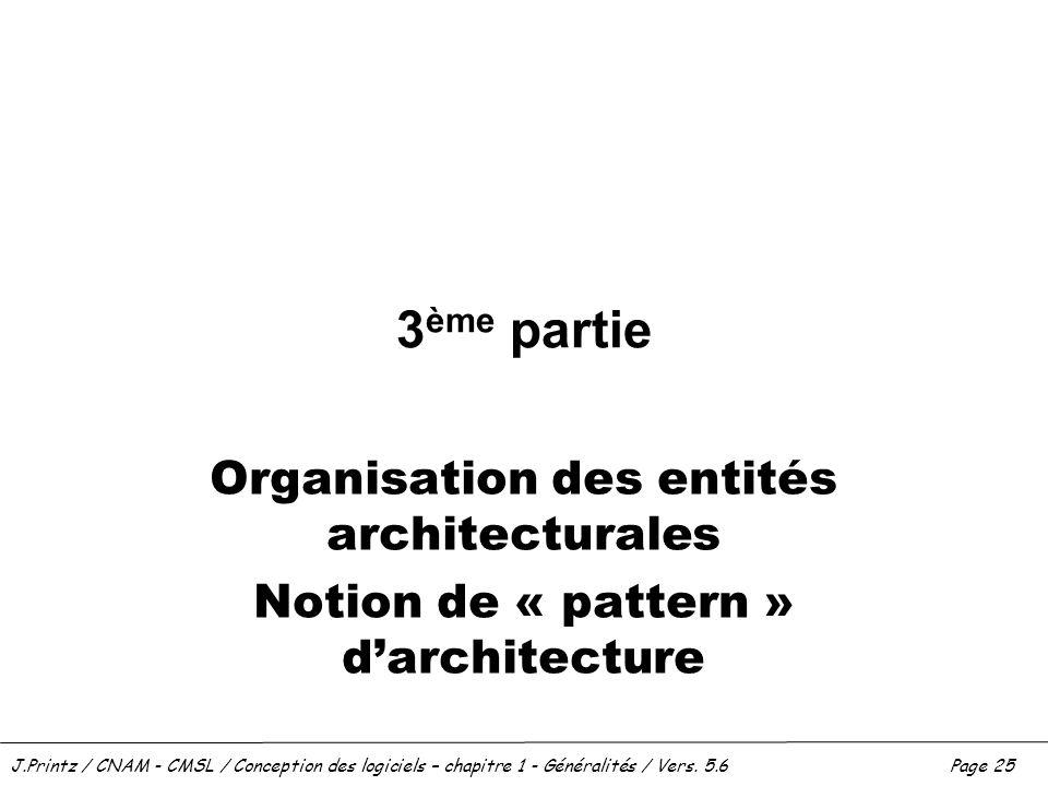J.Printz / CNAM - CMSL / Conception des logiciels – chapitre 1 - Généralités / Vers. 5.6Page 25 3 ème partie Organisation des entités architecturales